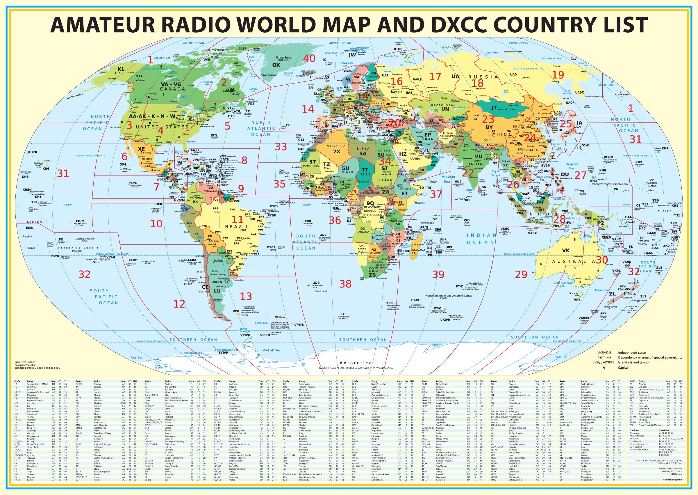 Радиолюбительская карта мира.